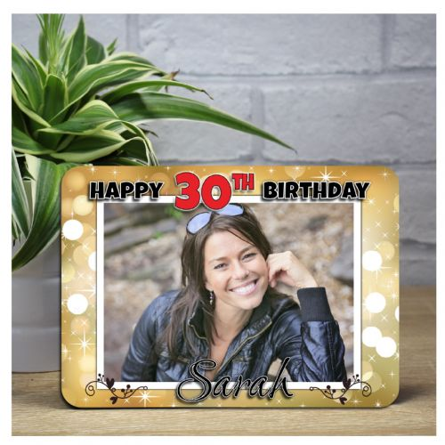 Personalised Happy Birthday Gold Sparkle Wood Photo Panel F2 - Any Age
